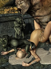 3D Girlie gets filled on her ass by Demon and puts jizz